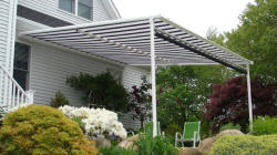 integrated pergola, awning and dop shade